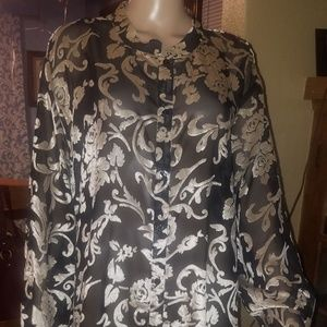 AVENUE brand, Sz. 30/32, sheer black & Gold blouse